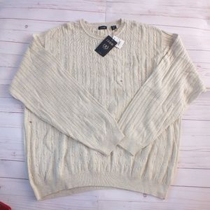 NEW Izod Crew Neck Light Sweater Size XXL Cream